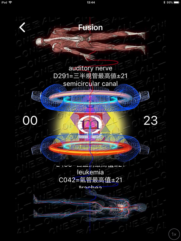 量子波動器オールワンの公式アプリでFusion瞑想モードを実行中。